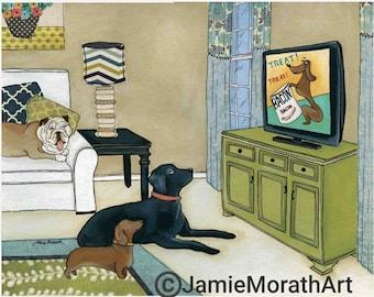TV Time, dog wall art