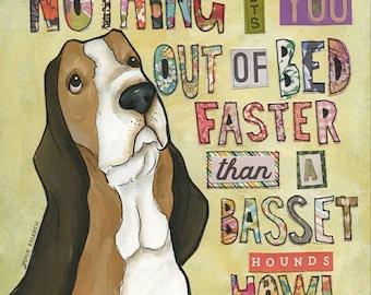 Basset Hound Howl, art print