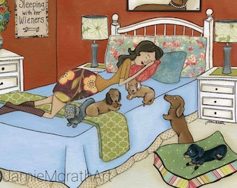 Sleeping With Her Wieners, dachshund wall decor