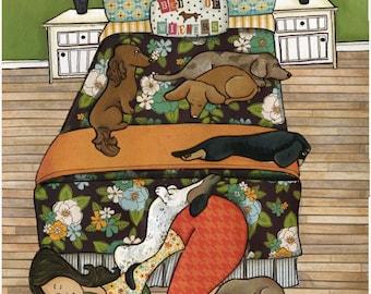 Bed of Wieners, art print