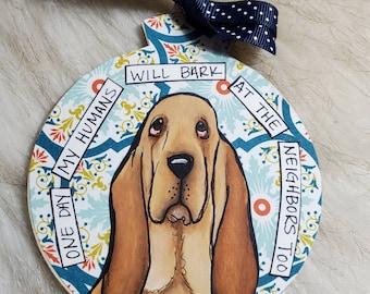 Bloodhound, handpainted dog ornament