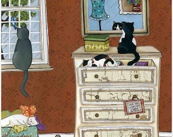 Love Me Love My Cats, cat art print