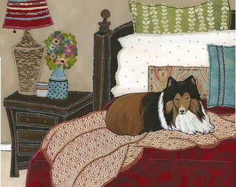 Snuggling With Sheltie, dog art print