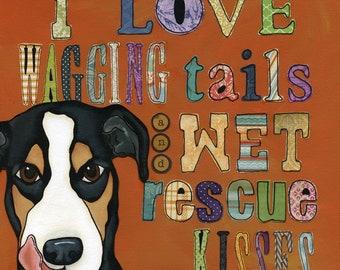 Wet Kisses, dog art print