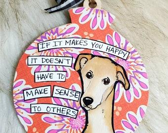 Greyhound, handpainted dog ornament