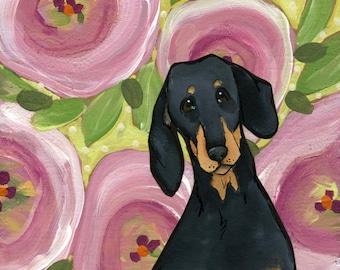 Pink Poppy Doxie, dachshund dog art print