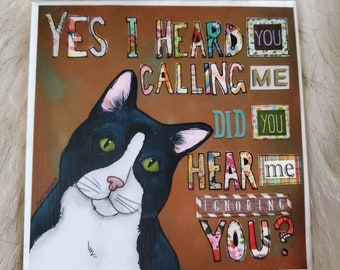 I Hear You coaster, tuxedo cat, black and white feline