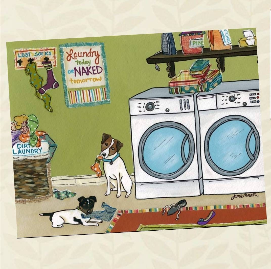 Jack Russell Trouble Laundry Room Dog Art Home Decor