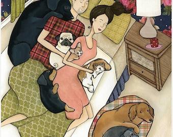 Spooning, dog art print