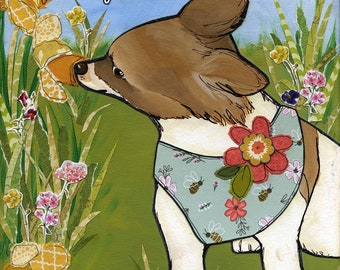 Smell the Flowers,  dog art print