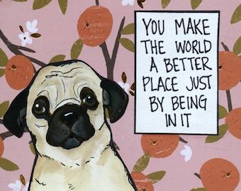 Better Place, pug art print