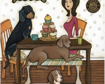 Cupcakes and Coonhounds, dog art print