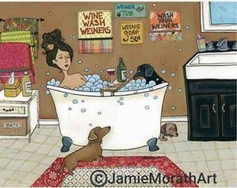 Weiners in the Tub, art print