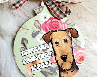 Airedale, handpainted dog ornament