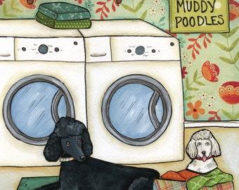 Poodle Wash- Original mixed media painting