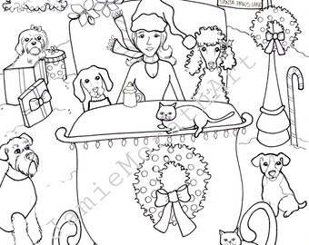 Santa Paws Lane, Christmas coloring pages, digital download