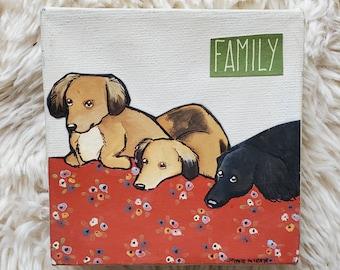 Dachshund Family, handpainted canvas