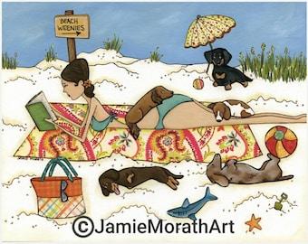 Beach Weenies, art print