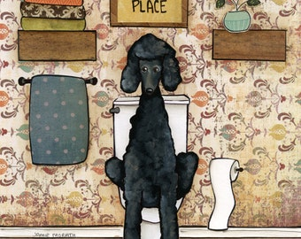 Happy Place Poodle- Original mixed media painting
