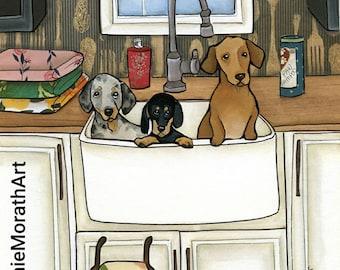 Sink Bath Weenies, art print