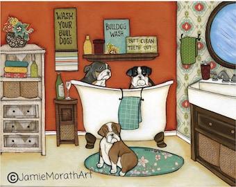 Wash Your Bulldogs, dog art print