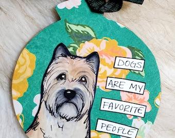 Cairn Terrier, handpainted dog ornament