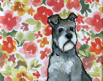 Schnauzer Poppies, dog art print