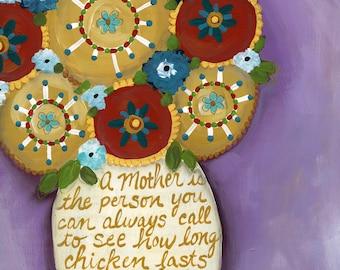 Mom Chicken, flower art print