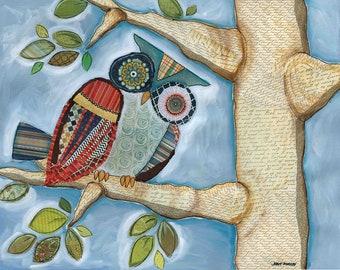 Mama Owl, owl wall art print