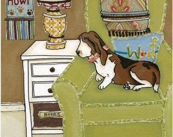 Sweet Basset, dog art print