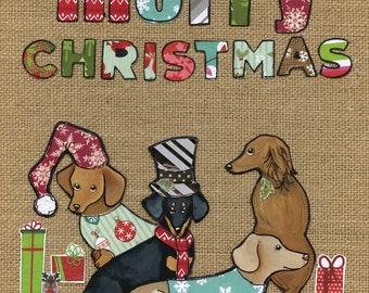 Christmas Doxies, art print
