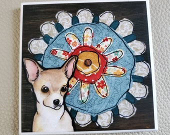 Chihuahua Flower coaster