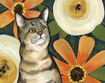 Cute as a Button, cat art print