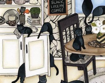 Black Coffee, cat art print