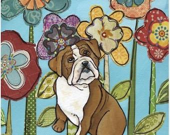 Lovin Bulldog, dog art print