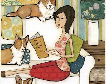Life of Corgis, dog art print