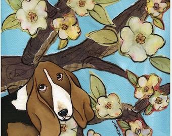Spring Basset, dog art print