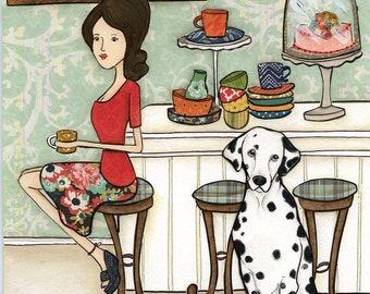 Dalmatians and Dishes, art print