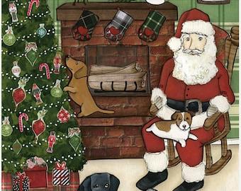Santa Paws, art print