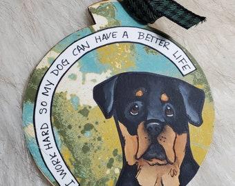 Rottweiler, handpainted dog ornament