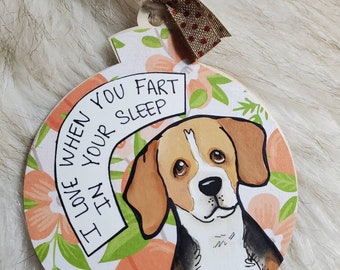 Beagle, handpainted dog ornament