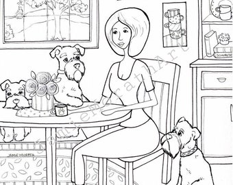 More Like Coffee, schnauzer digital coloring page
