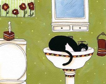 Nap Time, cat art print