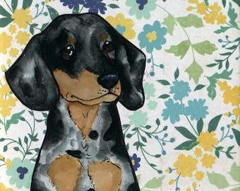 Doxie Blues, dog art print