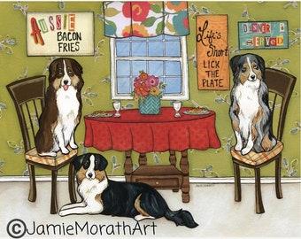 Aussies, dog art print