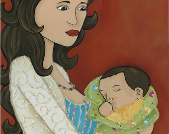 Cuddles in a Blanket, Mother and child art print