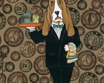 Java Hound, basset hound art print