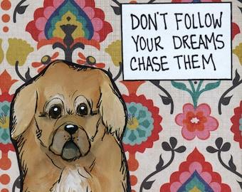 Chase Them, Pekingese dog art print
