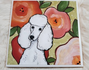 Poodle Poppies coaster
