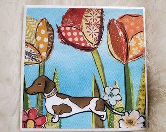 Dachshund in the Tulips coaster